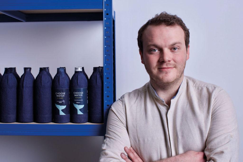 James Longcroft with Choose Water bottles